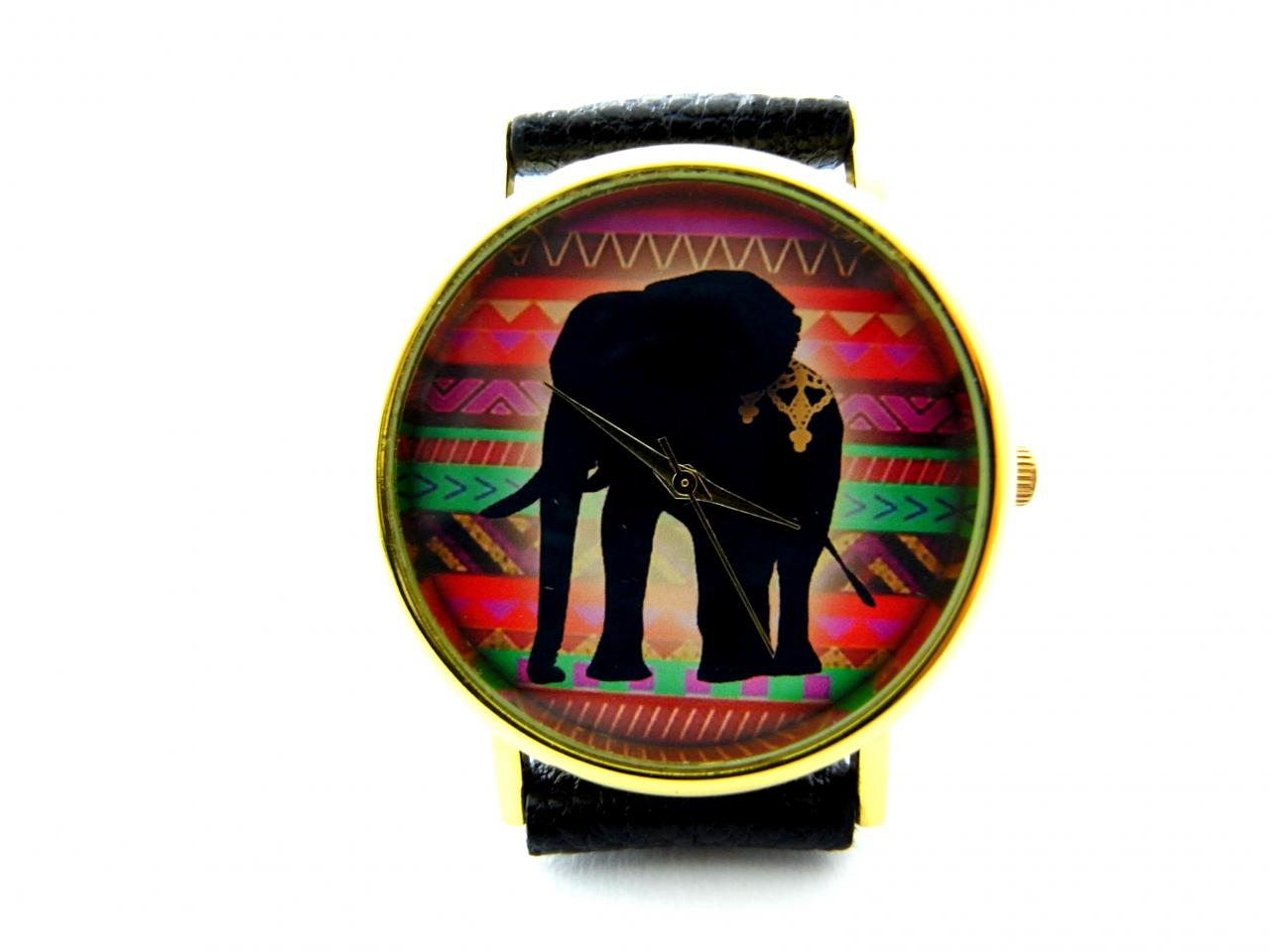 Elephant leather wrist watches, woman man lady unisex watch, genuine leather handmade unique watch #69