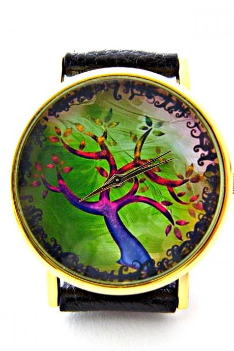 Tree leather wrist watches, woman man lady unisex watch, genuine leather handmade unique watch #3