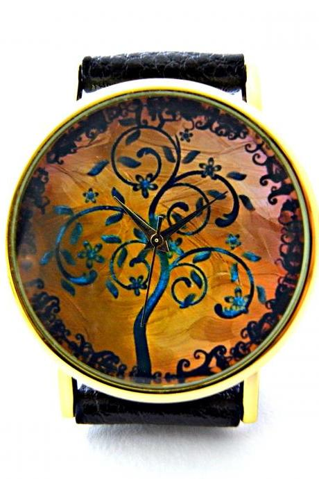 Tree leather wrist watches, woman man lady unisex watch, genuine leather handmade unique watch #4