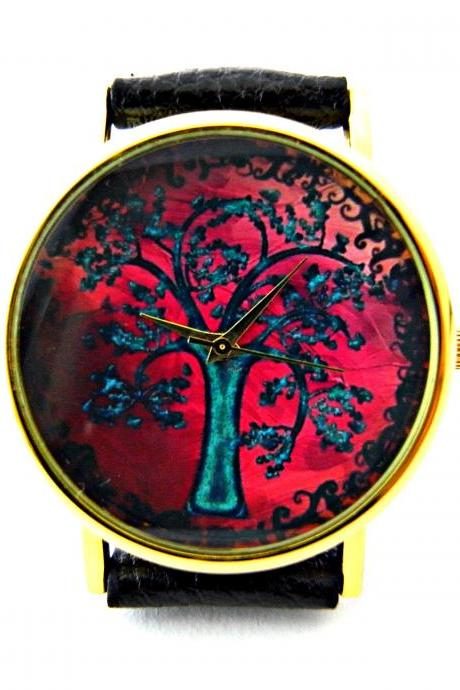 Tree leather wrist watches, woman man lady unisex watch, genuine leather handmade unique watch #5