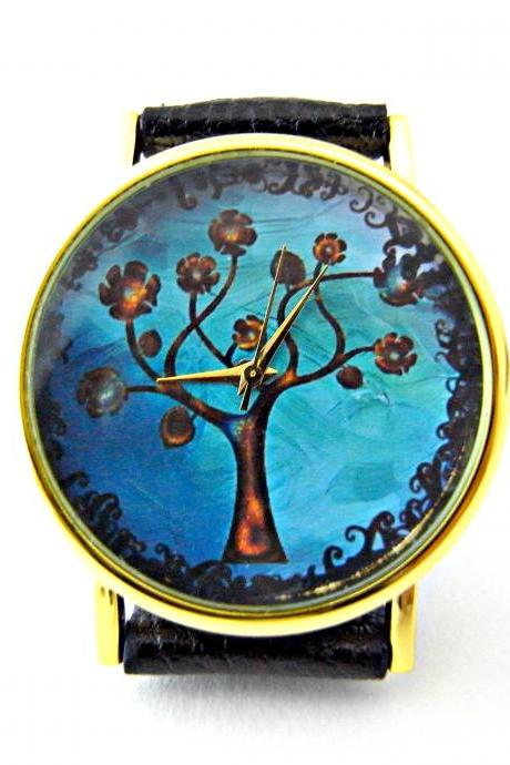 Tree leather wrist watches, woman man lady unisex watch, genuine leather handmade unique watch #7