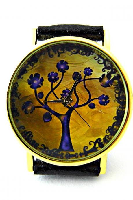 Tree leather wrist watches, woman man lady unisex watch, genuine leather handmade unique watch #8