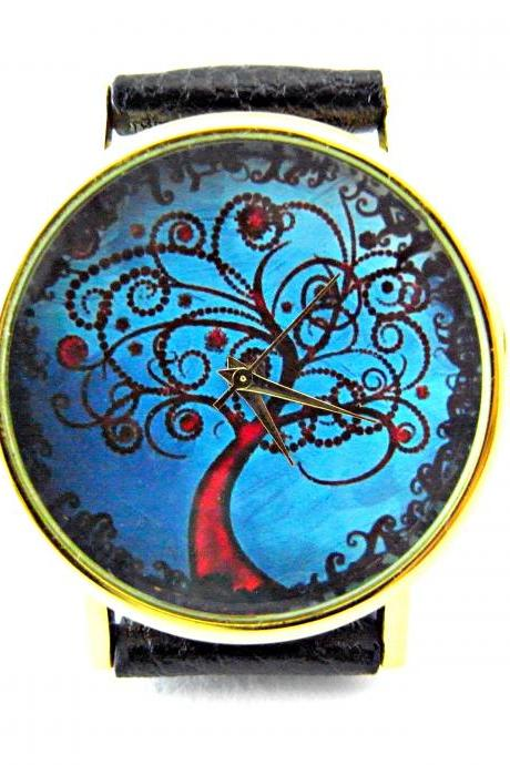 Tree leather wrist watches, woman man lady unisex watch, genuine leather handmade unique watch #9