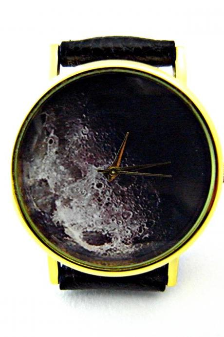 Moon leather wrist watches, woman man lady unisex watch, genuine leather handmade unique watch #13
