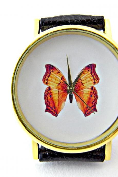 Butterfly leather wrist watches, woman man lady unisex watch, genuine leather handmade unique watch #36