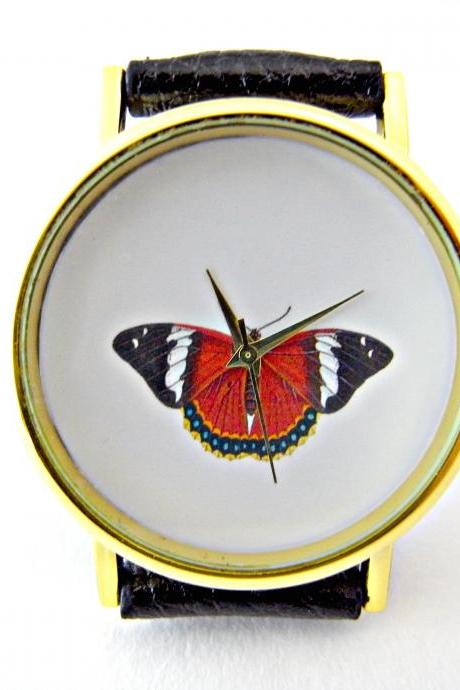 Butterfly leather wrist watches, woman man lady unisex watch, genuine leather handmade unique watch #37