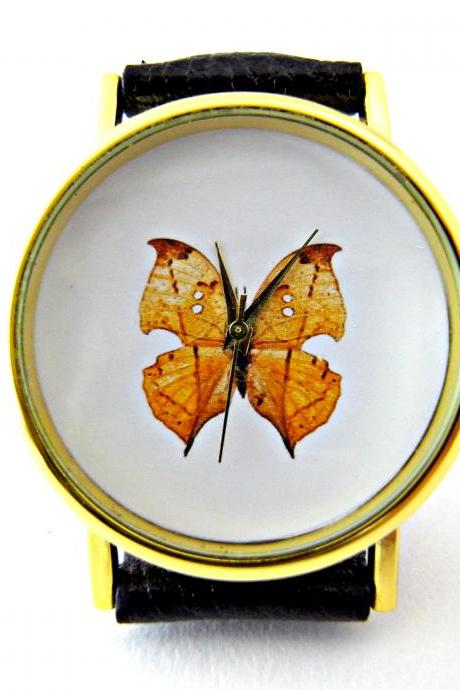 Butterfly leather wrist watches, woman man lady unisex watch, genuine leather handmade unique watch #38