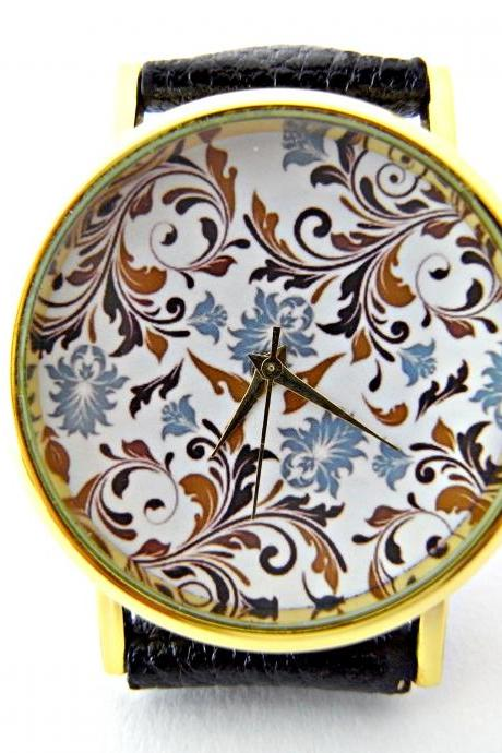 Flower leather wrist watches, woman man lady unisex watch, genuine leather handmade unique watch #44