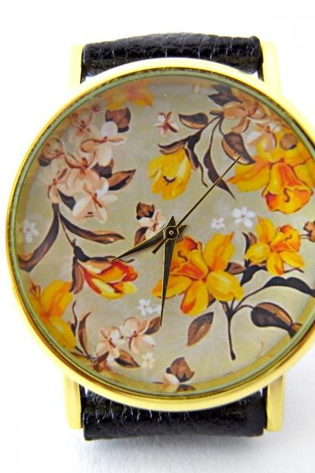 Flower leather wrist watches, woman man lady unisex watch, genuine leather handmade unique watch #48