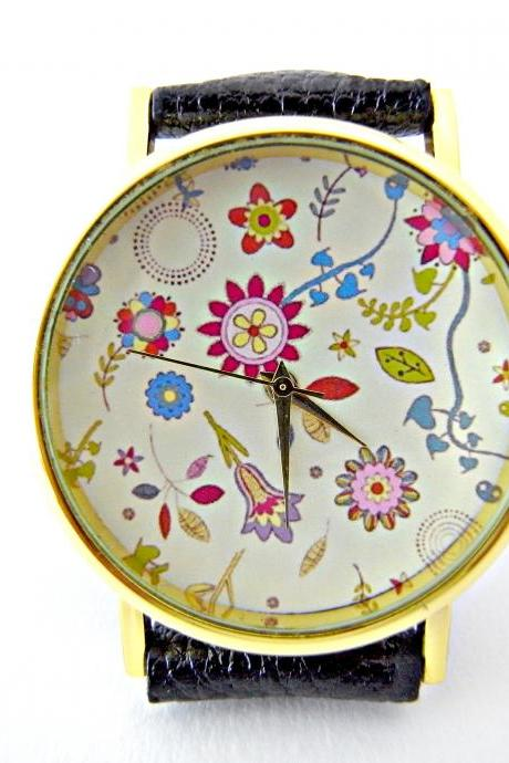Flower leather wrist watches, woman man lady unisex watch, genuine leather handmade unique watch #49