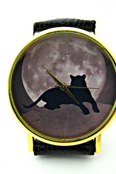Tiger and moon leather wrist watches, woman man lady unisex watch, genuine leather handmade unique watch #51
