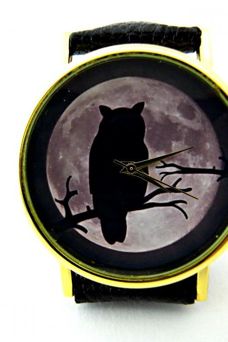 Owl and moon leather wrist watches, woman man lady unisex watch, genuine leather handmade unique watch #53