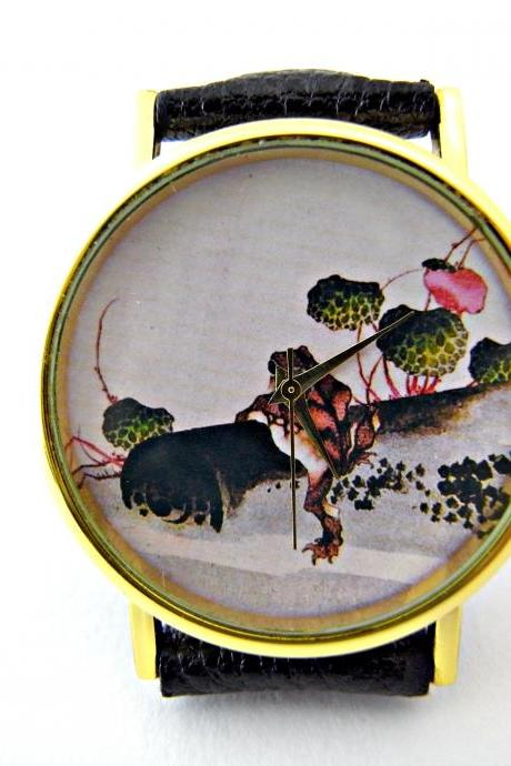 Frog leather wrist watches, woman man lady unisex watch, genuine leather handmade unique watch #61