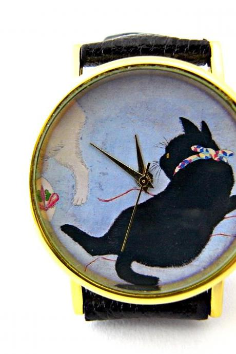Cat leather wrist watches, woman man lady unisex watch, genuine leather handmade unique watch #63