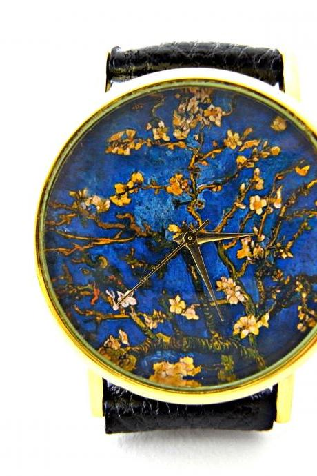 Almond blossoms watch, Van Gogh art leather wrist watch, floral watch, woman man lady unisex watch, genuine leather handmade unique watch #70