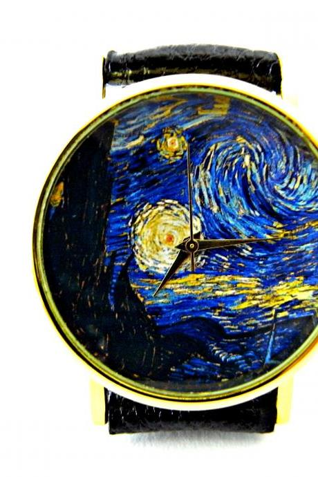 Starry Night watch, Van Gogh art leather wrist watch, woman man lady unisex watch, genuine leather handmade unique watch #71