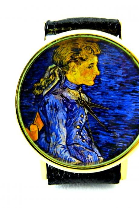 Van Gogh art leather wrist watch, woman man lady unisex watch, genuine leather handmade unique watch #73