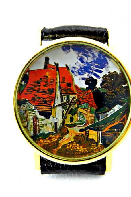 Van Gogh art leather wrist watch, woman man lady unisex watch, genuine leather handmade unique watch #74