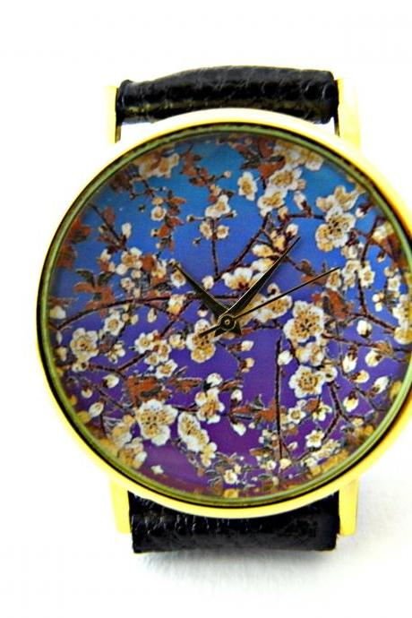 Cherry Blossoms leather wrist watch, floral watch, woman man lady unisex watch, genuine leather handmade unique watch #75