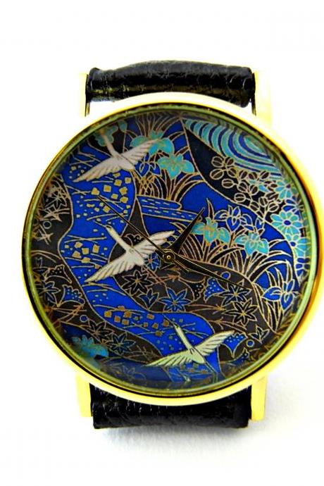 Snow Geese leather wrist watch, Japanese Art watch, woman man lady unisex watch, genuine leather handmade unique watch #76