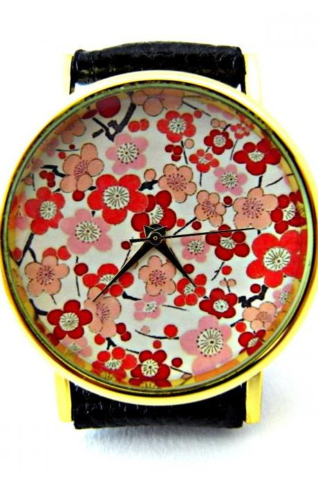 Cherry Blossoms leather wrist watch, floral watch, woman man lady unisex watch, genuine leather handmade unique watch #80