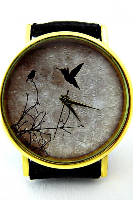 Bird and moon leather wrist watch, woman man lady unisex watch, genuine leather handmade unique watch #83