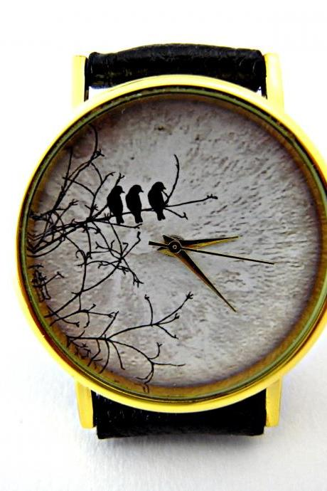 Bird and moon leather wrist watch, woman man lady unisex watch, genuine leather handmade unique watch #85