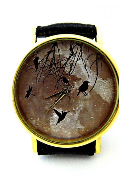 Bird and moon leather wrist watch, woman man lady unisex watch, genuine leather handmade unique watch #87