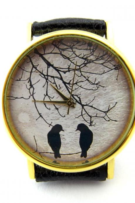 Bird and moon leather wrist watch, woman man lady unisex watch, genuine leather handmade unique watch #90