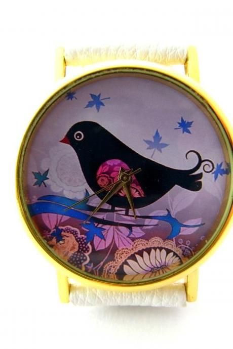 Birdle leather wrist watch, bird watch, woman man lady unisex watch, genuine leather handmade unique watch #96