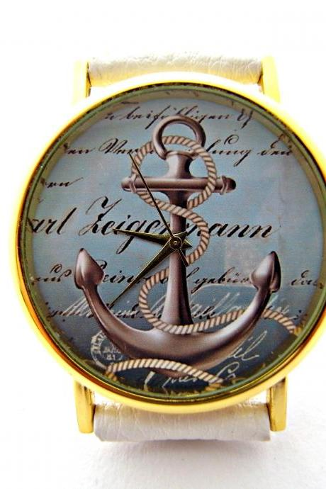 Anchor, Nautical leather wrist watch, woman man lady unisex watch, genuine leather handmade unique watch #98