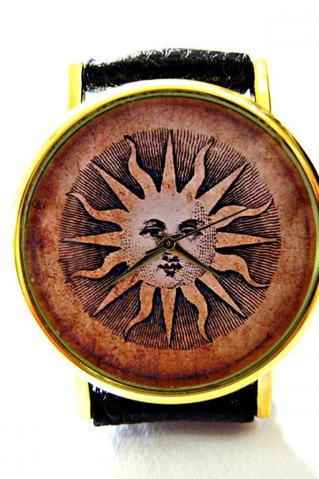 Sun, Cave Art leather wrist watch, woman man lady unisex watch, genuine leather handmade unique watch #101