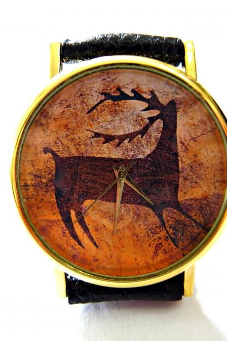 Deer, Cave Art leather wrist watch, woman man lady unisex watch, genuine leather handmade unique watch #102