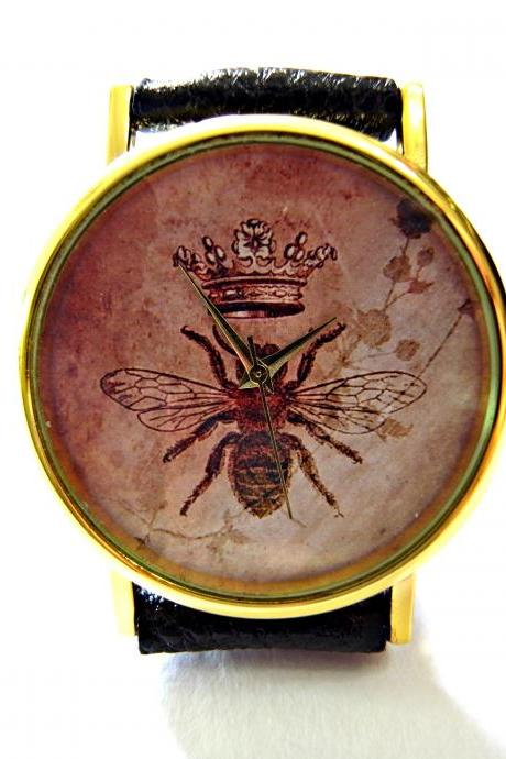 Bee Crown, Wisdom Circle leather wrist watch, woman man lady unisex watch, genuine leather handmade unique watch #105