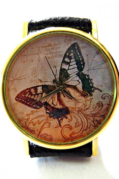 Butterfly, Wisdom Circle leather wrist watch, woman man lady unisex watch, genuine leather handmade unique watch #109