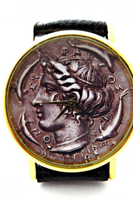 Antique Coin, Old Coin leather wrist watch, woman man lady unisex watch, genuine leather handmade unique watch #114