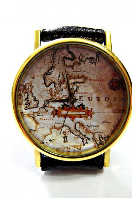 World map leather wrist watch, woman man lady unisex watch, genuine leather handmade unique watch #121
