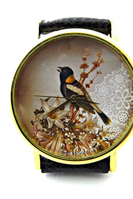 Bird lace leather wrist watch, woman man lady unisex watch, genuine leather handmade unique watch #126