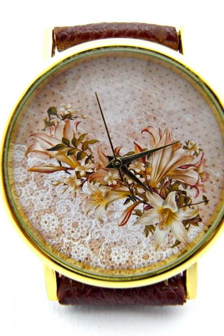 Lace flower leather wrist watch, woman man lady unisex watch, genuine leather handmade unique watch #129