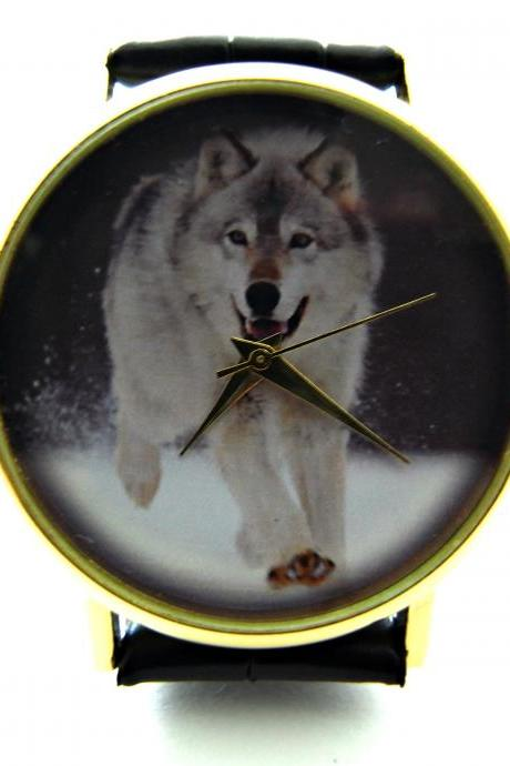 Wolf wrist watch, woman man lady unisex watch, genuine leather handmade unique watch #277