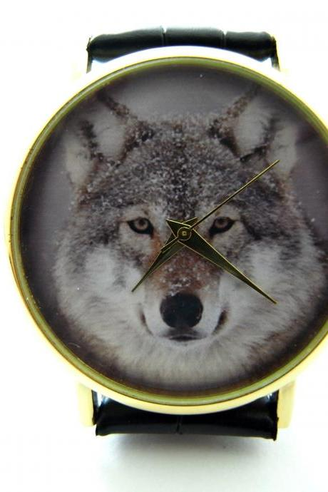 Wolf wrist watch, woman man lady unisex watch, genuine leather handmade unique watch #278