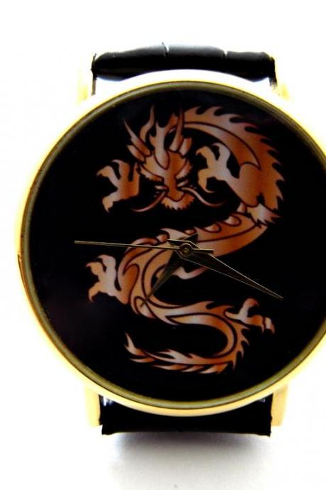 Dragon wrist watch, woman man lady unisex watch, genuine leather handmade unique watch #279