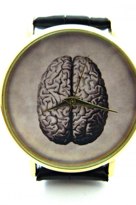 Victorian gothic brain wrist watch, woman man lady unisex watch, genuine leather handmade unique watch #283
