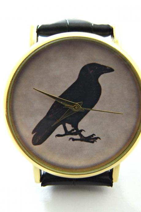 Victorian gothic crow wrist watch, woman man lady unisex watch, genuine leather handmade unique watch #285