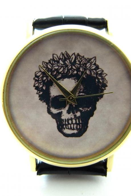 Victorian gothic funny skull wrist watch, woman man lady unisex watch, genuine leather handmade unique watch #287