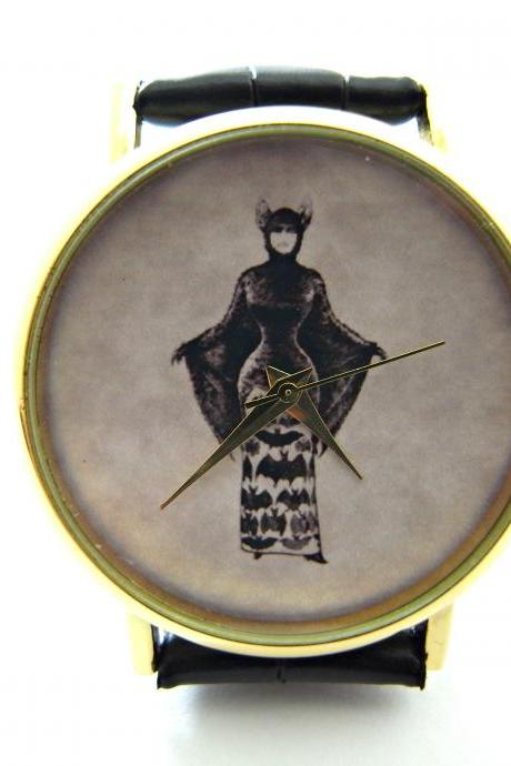 Victorian gothic witch wrist watch, woman man lady unisex watch, genuine leather handmade unique watch #290