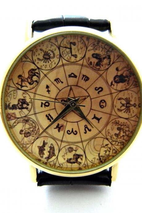 Zodiac signs wrist watch, woman man lady unisex watch, genuine leather handmade unique watch #296