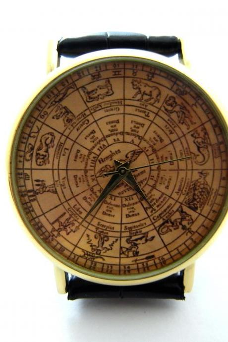 Zodiac signs wrist watch, woman man lady unisex watch, genuine leather handmade unique watch #297