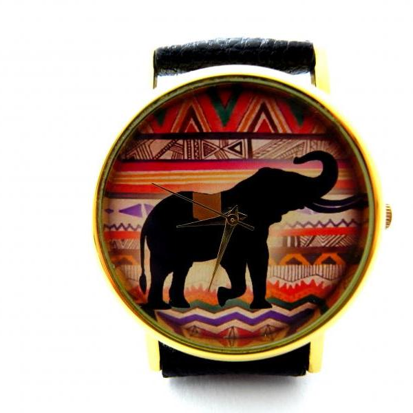 Elephant leather wrist watches, woman man lady unisex watch, genuine leather handmade unique watch #65