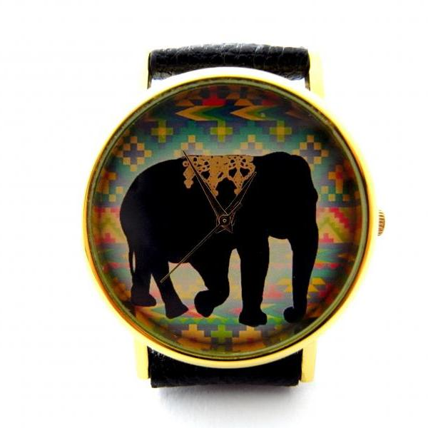 Elephant leather wrist watches, woman man lady unisex watch, genuine leather handmade unique watch #66